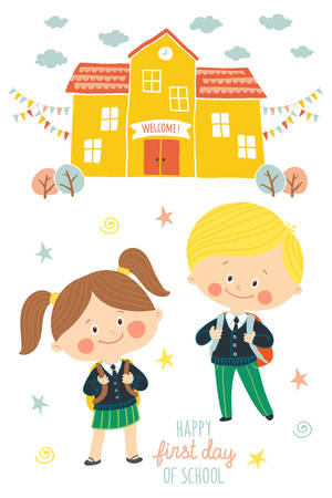 Happy first day of school card design. Kids going to school. Smiling boy and girl in school uniforms with backpacks in schoolyard. School building exterior. Cartoon vector illustration in flat style Illustration