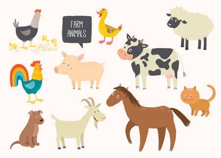 Ensemble d'animaux de ferme mignons. Cheval, vache, mouton, cochon, canard, poule, chèvre, chien, chat, coq Cartoon vector illustration pour enfants eps 10 dessinés à la main isolé sur fond blanc