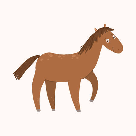 Happy horse cartoon smiling. Farm animal. Cartoon vector hand drawn eps 10 childrens illustration isolated on white background Illustration