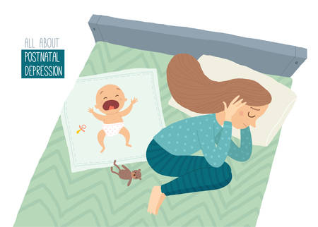 Postpartum depression. Postnatal depression. Depressed young woman lying on the bed with a crying baby. Cartoon vector hand drawn eps 10 illustration isolated on white background.