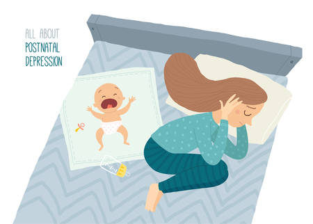 Postpartum depression. Postnatal depression. Baby s blues. Cartoon vector hand drawn eps 10 illustration isolated on white background Çizim