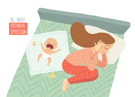 Postpartum depression. Postnatal depression. Baby s blues. Cartoon vector hand drawn eps 10 illustration isolated on white background  イラスト・ベクター素材