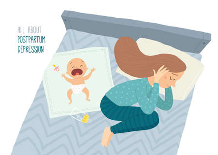 Postpartum depression. Postnatal depression. Baby s blues. Stock Photo