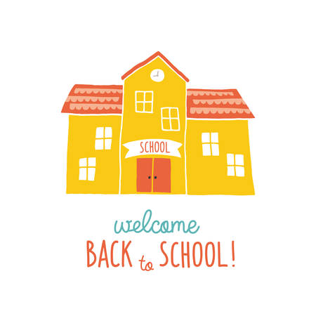 Back to school card design. Funny cartoon hand drawn school building over landscape background. Cartoon vector clip art eps 10 illustration on white background. Hand lettering