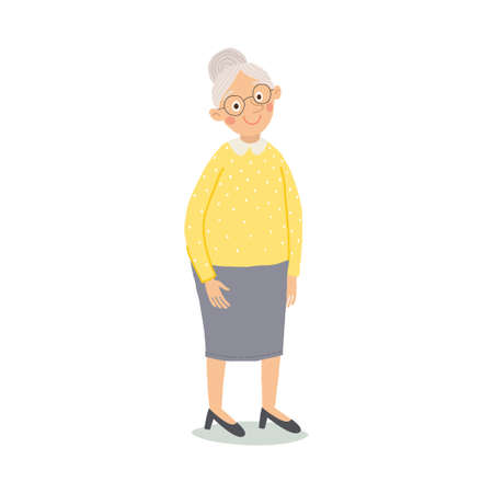 Old woman. Senior lady with glasses standing. Cute grandmother smiling. Elderly, senior, retired people. Cartoon vector hand drawn eps 10 illustration isolated on white background in a flat style.