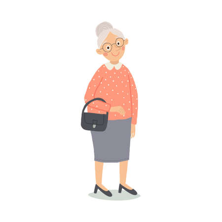 Senior lady with handbag standing. Old person. Cute grandmother with glasses smiling. Elderly, retired people. Cartoon vector hand drawn illustration isolated on white background in a flat style. Stock Photo