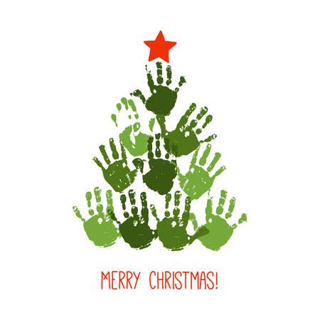 Handprint árbol de Navidad con estrella roja dibujada a mano. Arte navideño infantil acrílico acuarela. Manualidades navideñas para niños. Diseño de tarjeta de Navidad familiar. Ilustración de vector eps 10 aislado en blanco. Ilustración de vector