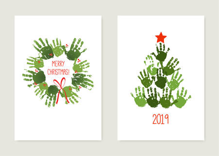 Handprint Christmas tree with red star. Handprint Christmas wreath with red bow. Christmas hand print card set. Watercolor, acrylic children Christmas art. Vector illustration isolated on white