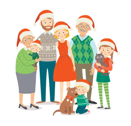 Big happy family in Christmas hats with pets. Grandparents, parents and children together. Cartoon vector hand drawn eps 10 childrens illustration isolated on white background in a flat style.