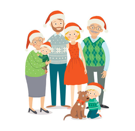 Christmas family portrait. Happy family at Christmas. Grandparents, parents and children together. Cartoon vector hand drawn eps 10 illustration isolated on white background in a flat style.  イラスト・ベクター素材