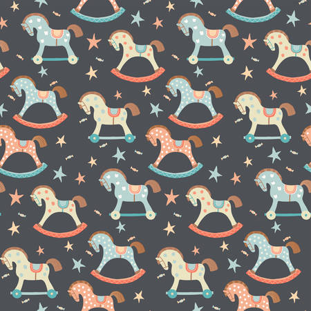 Seamless kids, baby rocking horse seamless pattern. First toys. Vector eps 10 illustration on dark. Cloth, wallpaper, wrapping, fabric, print , surface, baby shower design Illustration