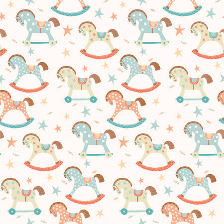 Seamless kids, baby rocking horse seamless pattern. First toys. Vector eps 10 illustration on white. Cloth, wallpaper, wrapping, fabric, print , surface, baby shower design