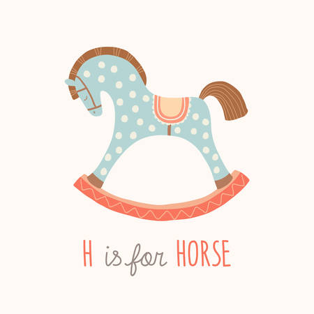 ABC Kids Wall Art. Toy Alphabet Card. Nursery alphabet poster wall art. Playroom decor. H is for Horse. Blue rocking horse. Cartoon vector clipart eps 10 illustration isolated on white background