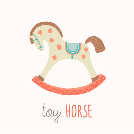 Toy horse flash card. Kids Wall Art. First word flashcard. Nursery first words poster wall art. Playroom decor. Cute rocking horse. Cartoon clipart eps 10 illustration isolated on white background