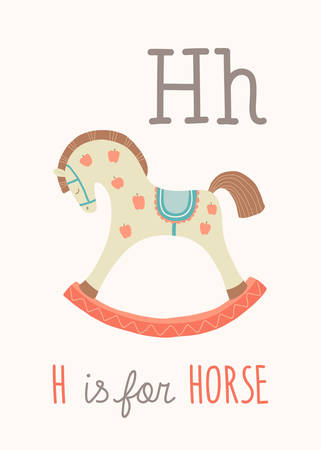 ABC Kids Wall Art. Toy Alphabet Card. Nursery alphabet poster wall art. Playroom decor. H is for Horse. Cute rocking horse. Cartoon vector clipart eps 10 illustration isolated on white background