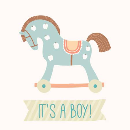 Invito per l'acquazzone di bambino È un ragazzo. Simpatico cavallo giocattolo con ruote. I primi giocattoli per bambini. Elemento di design doccia bambino. Illustrazione disegnata a mano di eps 10 di vettore del fumetto isolata su fondo bianco