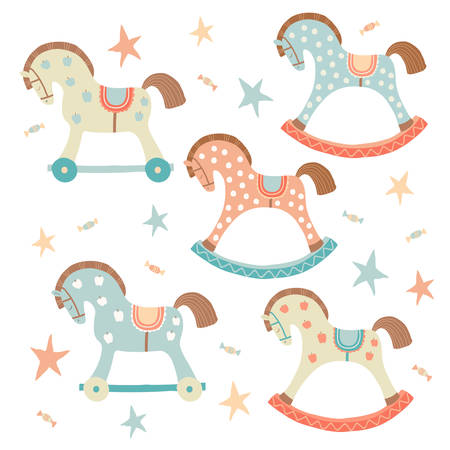 Cute toy rocking horse set. Kids First Toys. Baby shower design element. Cartoon vector hand drawn eps 10 illustration isolated on white background Vettoriali