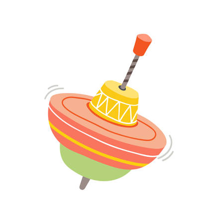 Giocattolo rotante colorato. Carosello tradizionale canticchiante. Elemento di design doccia bambino. Trottola. Illustrazione vettoriale eps 10 isolato su sfondo bianco Vettoriali