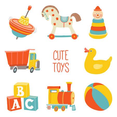 Set di icone per bambini primi giocattoli. Elemento di design doccia bambino. Illustrazione disegnata a mano di eps 10 di vettore del fumetto isolata su fondo bianco