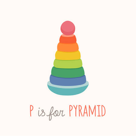 Colorful toy pyramid. ABC letter P poster. P is for pyramid. Toy Alphabet Card. Nursery alphabet poster wall art. Flashcard. Cartoon vector eps 10 illustration isolated on white background.