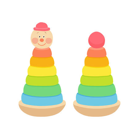 Colorful toy pyramids with clown heads in red funny hat. Cute toy clowns smiling.Classic ring stacker with a fun design. Cartoon vector eps 10 illustration isolated on white background