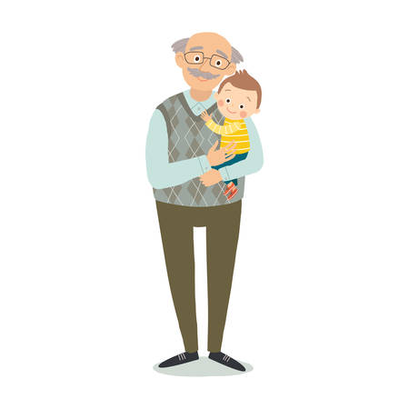 Grandfather with grandson. Family photo. Grandparents day greeting card concept. Cartoon vector hand drawn eps 10 illustration isolated on white background in a flat style.
