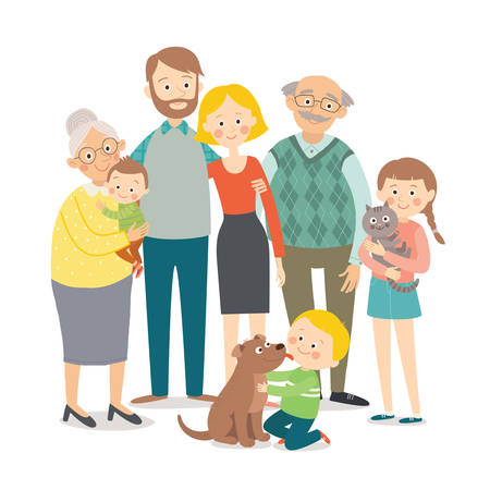 Happy family. Father, mother, grandfather,grandmother, children and pets. Family portrait. Cartoon vector hand drawn eps 10 childrens illustration isolated on white background in a flat style Иллюстрация