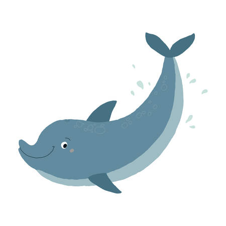 Blue Bottlenose Cute Dolphin Swimming. Cartoon vector hand drawn eps 10 illustration isolated on white background in a flat style.