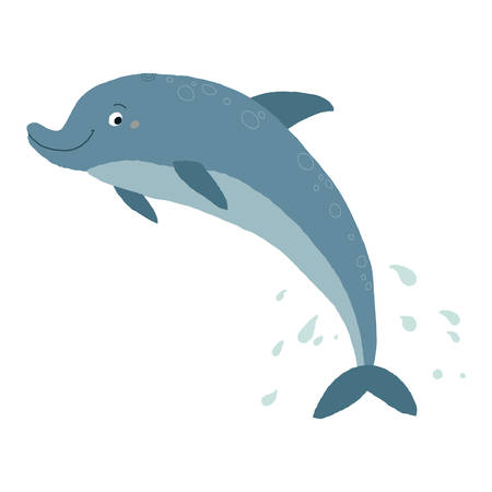 Vector illustration of a funny dolphin jumping fun. Cartoon vector hand drawn eps 10 illustration isolated on white background in a flat style.