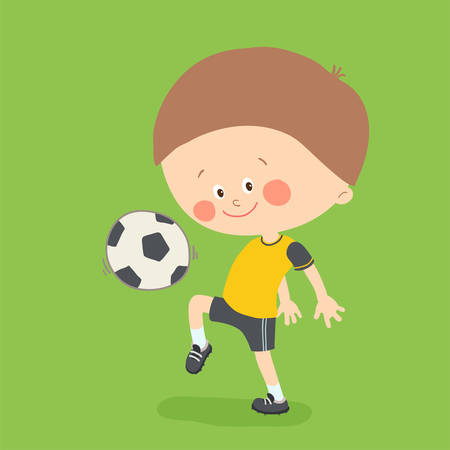 Little boy playing soccer. Child kicking football on the football field. Cute happy kid playing with a ball. Cartoon vector eps 10 illustration on white background. Illustration