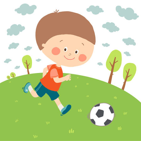 Little boy playing soccer on the football field. Child kicking football. Cute happy kid playing with a ball. Cartoon vector eps 10 illustration on white background.