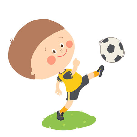 Little boy kicking a soccer ball on green field isolated. Cartoon vector hand drawn illustration isolated on white background. Illustration