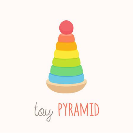 Pyramides de jouets colorées avec des têtes de clown en chapeau rouge drôle. Clowns mignons souriants. Empileur d'anneaux classique avec un design amusant. Dessin animé vecteur eps 10 illustration isolé sur fond blanc. Vecteurs