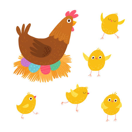 Set of cute little chickens with their mother. Easter scene. Cartoon vector hand drawn illustration isolated on dark background in a flat style.
