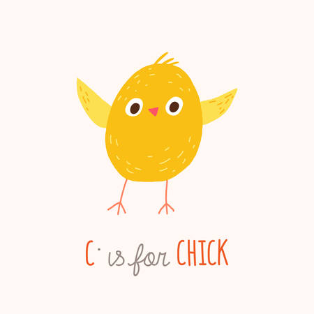 Cute yellow chicken. ABC Kids Wall Art. Alphabet Card. Nursery alphabet poster. Playroom decor. C is for Chick. Vector clipart eps 10 hand drawn illustration isolated on white background. 向量圖像