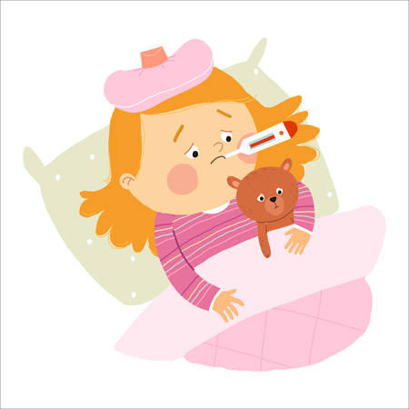 Little Caucasian girl ill in bed with thermometer and hugging teddy bear. Cartoon vector hand drawn eps 10 illustration isolated on white background in a flat style. Ilustração