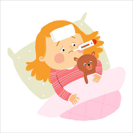 Illustration of a Sick Girl Wrapped in a Blanket and with a Compress on His Head. Cartoon vector hand drawn eps 10 illustration isolated on white background in a flat style.