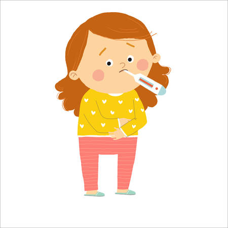 Kid girl having fever. Cartoon vector hand drawn eps 10 illustration isolated on white background in a flat style.