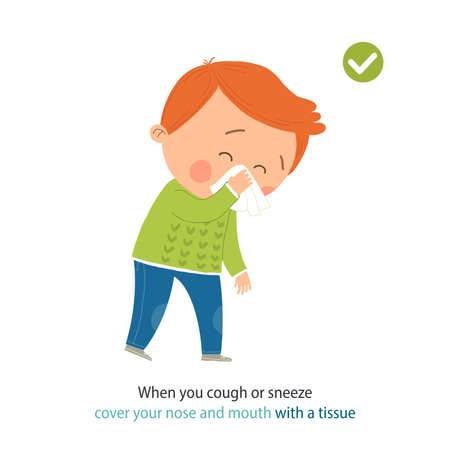 How to sneeze and cough properly. Cute little boy sneezing. When you cough or sneeze cover your mouth with a tissue. Prevention against Covid-19 and Infection. Hygiene Concept. Vector illustration. Ilustracja
