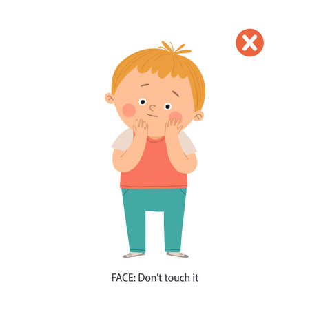 Don t touch your face school poster. Cute boy touching his face. Wrong gestures. Prevention against Covid-19 and Infection. Cartoon vector eps 10 hand drawn illustration isolated on white background.  イラスト・ベクター素材