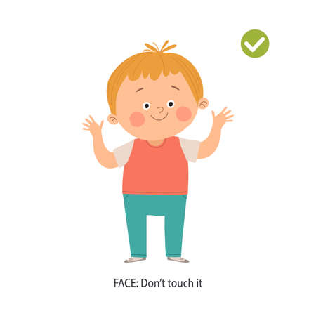 Cute boy avoids touching his face. Right gesture. Don t touch your face poster. Prevention against Covid-19 and Infection. Hygiene Concept. Cartoon vectorhand drawn illustration isolated on white.