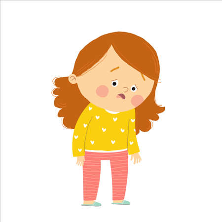 Cute little girl exhausted. Tired kid. Cartoon hand drawn10 illustration isolated on white background in a flat style.