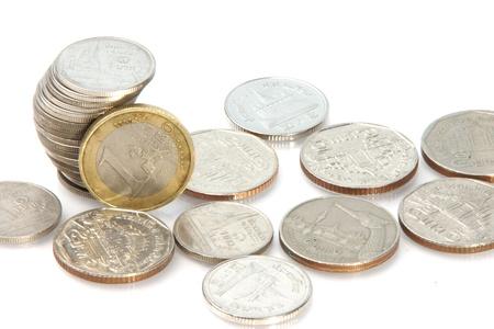 One Euro and Thai Baht Stock Photo - 21169689