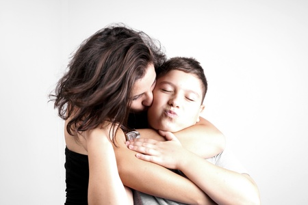 Girl hug her young brother photo