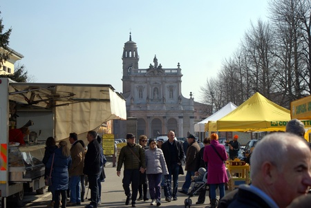 Fontanellato, Parma, Italy - March 3, 2013  Customers look around at products sold in stalls in the Sunday market in Fontanellato, Parma