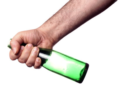 Holding a green bottle photo