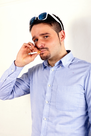 Smoking boy photo