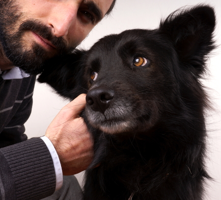Man and dog photo
