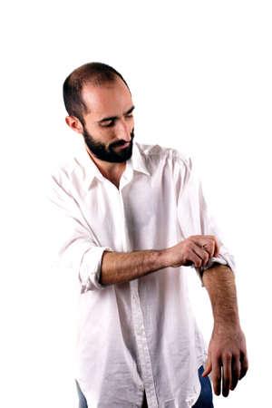 Man wearing white shirt photo