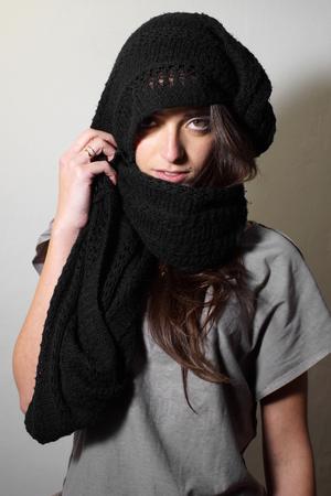 arab model: Lady with black scarf Stock Photo